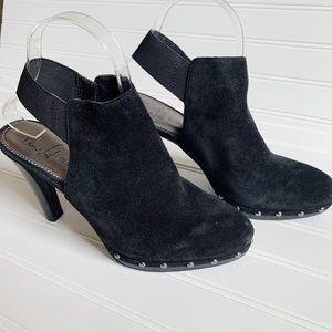 Franco Sarto black suede clogs sling back sandals